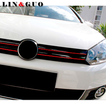Case For Volkswagen CC GOLF 7 Golf 6 MK6 Polo GTI VW Tiguan Red Line Reflective Car Sticker Front Grille Trim Strip car styling(China)