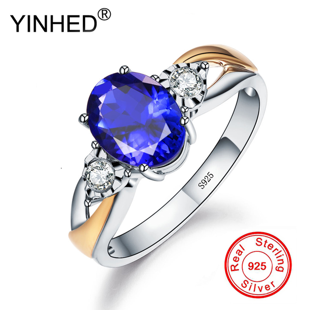 YINHED Women Luxury Blue Cubic Zircon CZ Stone Open Ring 100% 925 Sterling Silver Wedding Jewelry Adjustable Size Ring ZR510