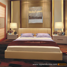 OPPEIN Hot Sell Cherry Wood Bed  / soft bed/double bed king/queen size bedroom home furniture hot sale style OP-SH676