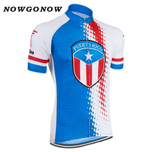 NOWGONOW 2017 Cycling Jersey men red blue national flag team Clothing Bike Wear pro MTB road top Maillot Puerto Rico summer cool