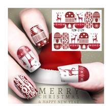 ZKO 1 Sheet Nail Art Water Tattoo Christmas Design Water Transfer Decals For Nails 2129(China)