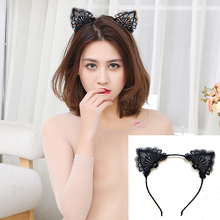 Black Lace Cat Ears Hair Clips Headband For Women Girls Hairband girls headbands Hair Hoop Hair Accessories bandeau cheveux(China)