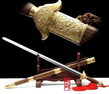 "Handmade 39 Inches Chinese WUSHU Sword ""Tai Chi Jian"" Stainless Steel Flexible Blade/Brass Knife Fitting/Pear Wood Saya(China)"