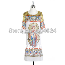 New High Quality Lady Elegant Unique Russian Ethnic Style Character Print O-Neck Straight Casual Summer Day Dresses FreeShipping