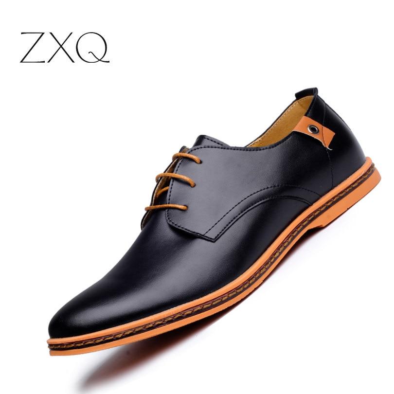 2017 Leather Casual Men Shoes Fashion Men Flats Round Toe Comfortable Office Men Dress Shoes Plus Size 38-48<br>