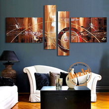 100% Hand Painted Abstract Oil Painting On Canvas Unframed Wall Art Geometric Patterns 4pcs Brown Painting Home Decoration