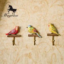 2017Durable Iron Metal Wall Hook Holder Home Decor Vintage Birds Hooks Hanger Design Resin coat hanging Decorative Clothes Hooks(China)
