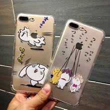 Fashion Lovely Funny cartoon cat Clean Transparent soft TPU Silicone Back Cover for iphone 6 6s 6plus 6s plus 7 7plus phone case