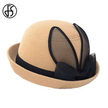 FS Women Winter Bow Felt Fedora Hats Elegant Church Hat With Black Rabbit Ears Short Brim Fedoras Classic Solid Colors(China)