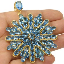 SPECIAL Long Big Swiss Blue Topas SheCrown Woman's Wedding Gold Silver Pendant 61x53mm