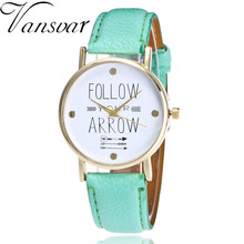 Vansvar Brand Fashion Follow Your Arrow Watch Women Dress Watch Casual Leather Vintage Bracelet Clock Watch 2121
