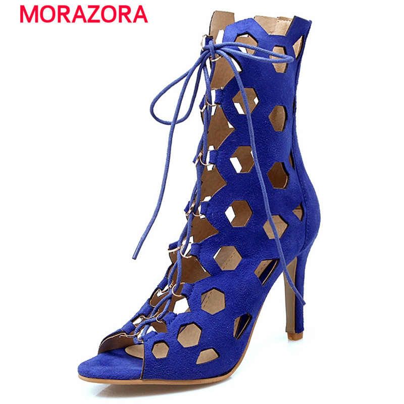 MORAZORA 2017 Ankle lace-up high heels shoes flock peep toe party shoes elegant fashion woman sandals summer shoes<br>