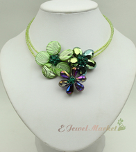 N13060313 green MOP shell crystal flower necklace