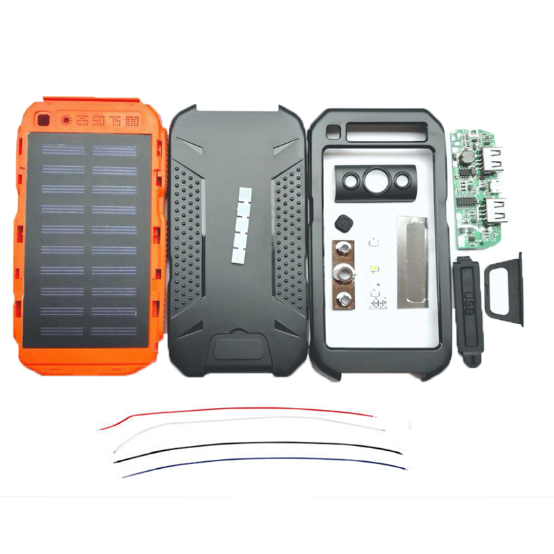 Waterproof Dual USB 10000mAh Solar DIY Power Bank Battery Charger No Battery(only The Accessories)
