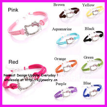 free ship 20pcs/lot mix 10 color leather hello kitty bracelet for girls(China)