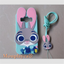 Cute cartoon Zootopia Judy Bunny soft silicone back cover for Samsung Galaxy J1 ACE J110 4.3inch Cell phone case + Strap
