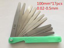 1pcs Wholesale The length of the 100mm 0.02 To 0.5mm 17 Blade Thickness For Gap Metric Filler Feeler Gauge Measure Tool