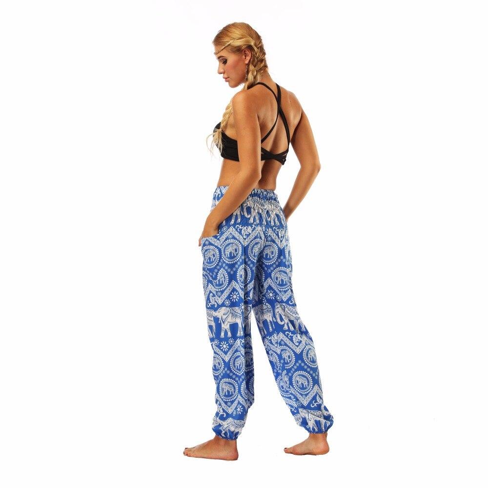 TL009- blue and white elephant wide leg loose yoga pant leggings (7)