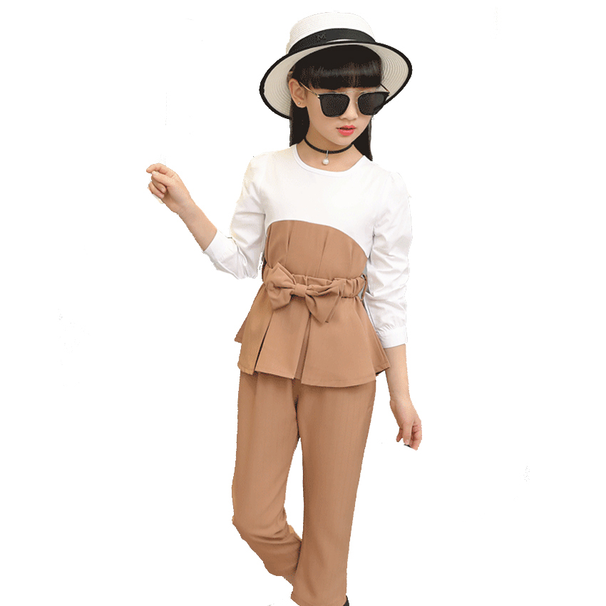 Girls Children Clothing Sets Teens Clothes Sets  Girls Long Sleeve Patchwork Outfits Kids Tops &amp; Pants Suits 4 7 9 10 12 Years <br>