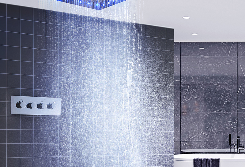 Luxury 20 Inches High Flow Stainless Steel Ceiling Shower Heads Thermostatic Mixer LED Shower Faucet (12)