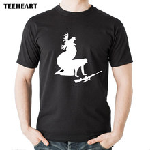 TEEHEART Brand T-shirt Men/women Cotton T-shirt Fashion Wild Hunters and Deer Print T shirt Summer Tops Tees(China)