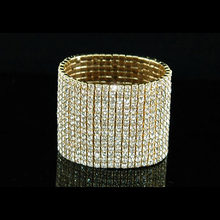 15 Row Queen Crystal Rhinestone Stretch Gold Color Metal Bangle Bracelet CB915G