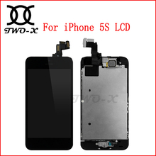 LCD for iPhone 5S LCD with Touch Screen Digitizer Assembly with Frame Replacement front parts camera Best quality free shipping(China)