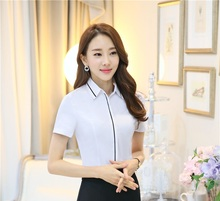 Ladies Uniform Styles 2016 Summer Short Sleeve Fashion Blouses Female Blouse OL Shirts Woman Tops Blusa Feminina Work Wear(China)