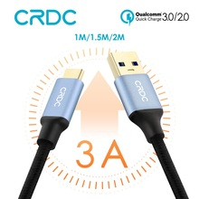 USB C Cable CRDC 3A USB Type C Cable Nylon Type-C Fast Charging Data Cable for Samsung Galaxy S8 Xiaomi Mi5 Nexus 5X 6P OnePlus(China)