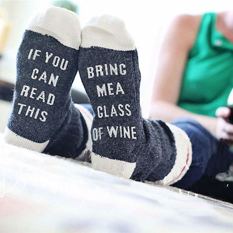 Custom wine socks If You can read this Bring Me a Glass of Wine Socks autumn spring fall 2017 new arrival(China (Mainland))