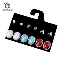 DANZE Punk 6 Pairs Women Blue & Red Crack Stone Stud Earrings Set Girls Retro Vintage Claires Crystal Earrings Jewelry Pusety(China)