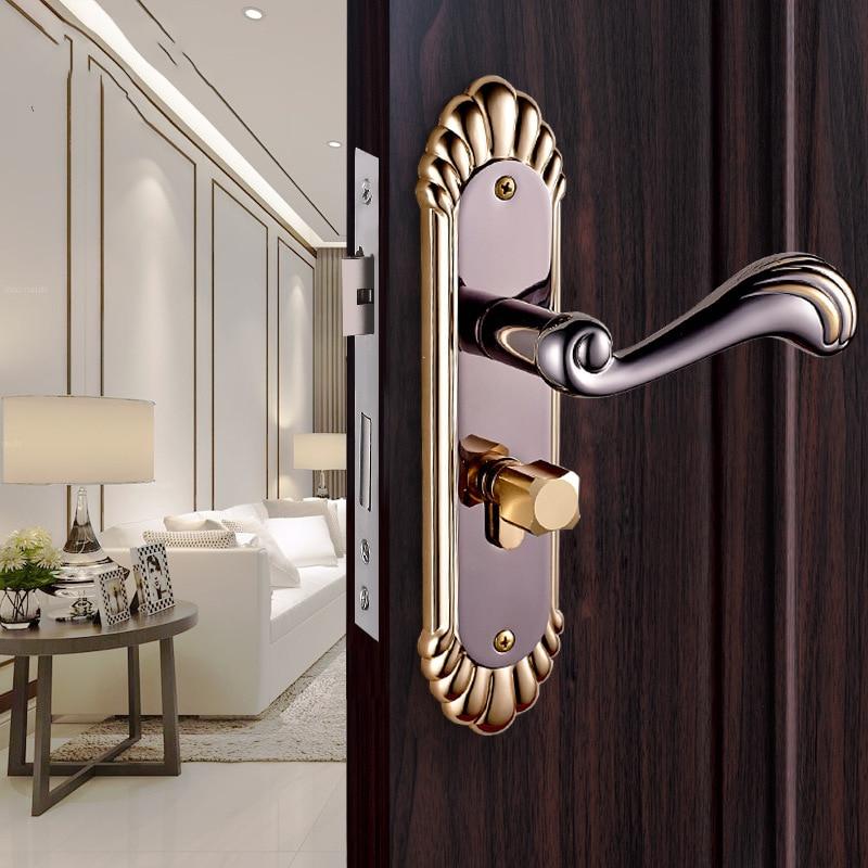 OSPON European retro interior door locks, high-quality solid wood door handle lock, shell unique pattern locks<br>