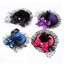 1 pcs Fashion Lady Mini Feather Rose Top Hat Cap Lace Fascinator Hair Clip Costume Accessory