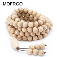 MOFRGO Nature White Large Flowered Abelia Wood Wrap Bracelet Femme Lucky Bead Charm Bracelets For Women And Men Handmade Jewelry(China)
