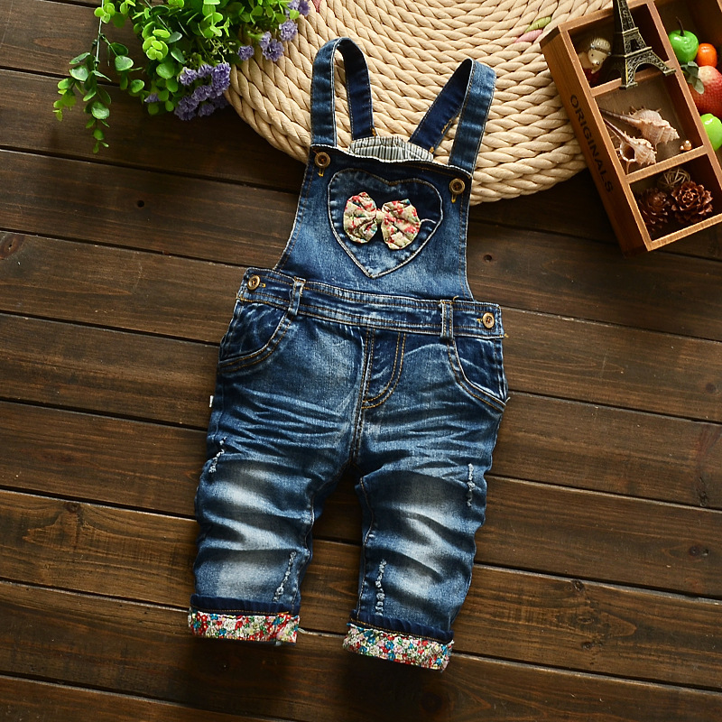 Free shipping 2017 spring autumn Baby girls demin pants  bib baby girls cowboy children cartoon rompers kids overalls<br><br>Aliexpress