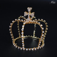 Small Cross Style Tiaras Gold Plating Crowns Clear Austrian Rhinestone Crystal Bridal Pageant Prom Party Headpieces(China)