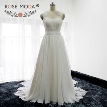Rose Moda Ivory over Champagne Chiffon Beach Wedding Dress Chantilly Lace Top Boho Wedding Dresses 2017 Real Images(China)