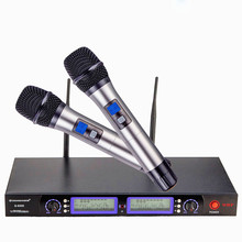 Professional UHF dual channel 200  frequency optional metal handheld microphone  KTV  wireless personalized megaphone system