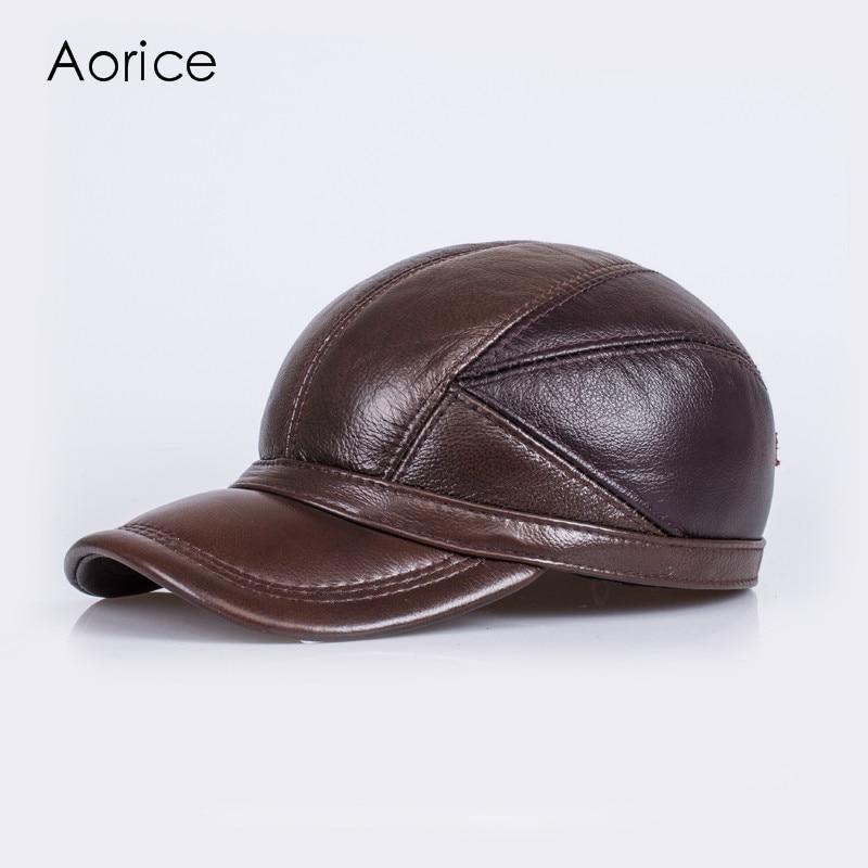 HL030 winter genuine sheepskin leather hat  brand new  mens  warm earmuffs hat man baseball cap/hat<br>