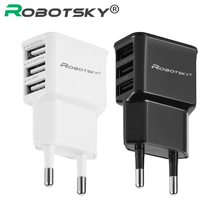 EU US Plug 5V 2.4A 3 Ports Three USB Power AC Wall Charger Travel Adapter For iphone Samsung Smart phones and tablet PC(China)