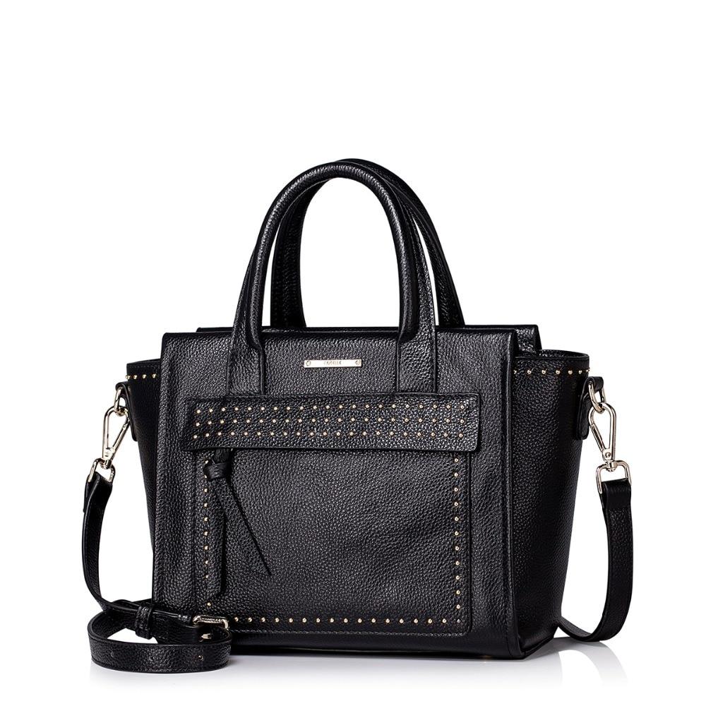 2016 New Womens Studded Tote Handbag Genuine Leather Trapeze Satchel Versatile Cross Body Purse Casual Shoulder Bag<br><br>Aliexpress