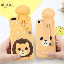 KISSCASE 3D Lion Silicon Case For iPhone 6 6s 7 Plus Cute Cartoon Soft TPU Sound Production Cover With Holder Stand Capa Shells(China)