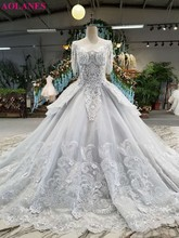 New Design Crystal Saudi Arabia 3/4 Sleeves Ball Gown Gray Wedding Dresses Luxurious Lace Appliques Flowers Beaded Bridal Gowns(China)