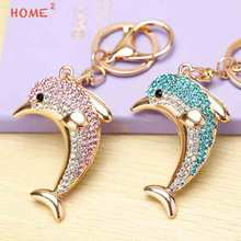 Creative Gift Women Crystal Dolphin Keychain Car Keyring for Chrysler LADA Dodge Dacia Cadillac Chrysler BMW KIA Benz Citroen(China)