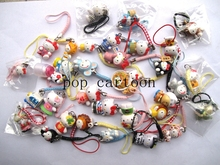 Free Shipping Mixed 100 PCS Hello Kitty Cartoon Action Figures Cell Phone Strap Charms  For Best Gifts EX32