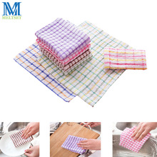 5pcs/Lot Cotton Kitchen Towels Dish Cloth 24x24cm Absorbent Home Cleaning Wiping Rags(China)