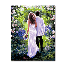By Numbers Pictures DIY Oil Painting Holding Hands Newlyweds Home Decor Framework Wall Art Acrylic Handpainted For Living Room(China)