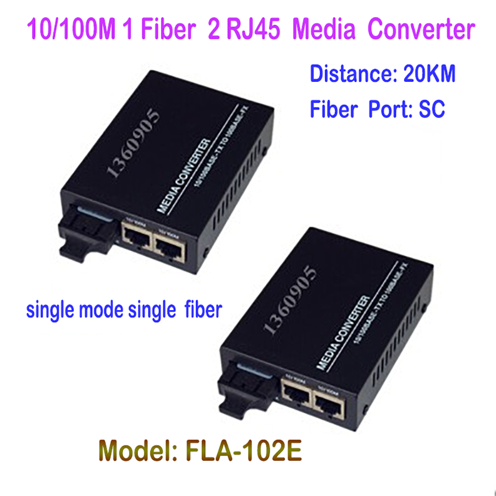 1 Pair Fiber Optical Media Converter 10/100Mbps Single-mode Single Fiber 1CH Fiber 2ch RJ45 Ethernet Port  20KM  DC5V Power<br>