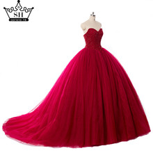 Real Picture Luxury  Burgundy  Crystals ball gown Wedding Dress Bridal Dress Robe De Mariee Mariage 2017 Wedding Gown