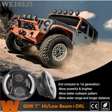 WEISIJI 2Pcs/Pair LED Headlights with DRL for Jeep Wrangler Hummer Motorcycle 60W High/Low Beam Driving Headlight 2nd Generation